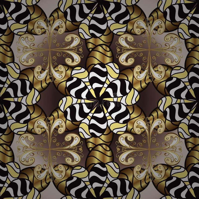 布朗和黑色与金黄元素 库存例证