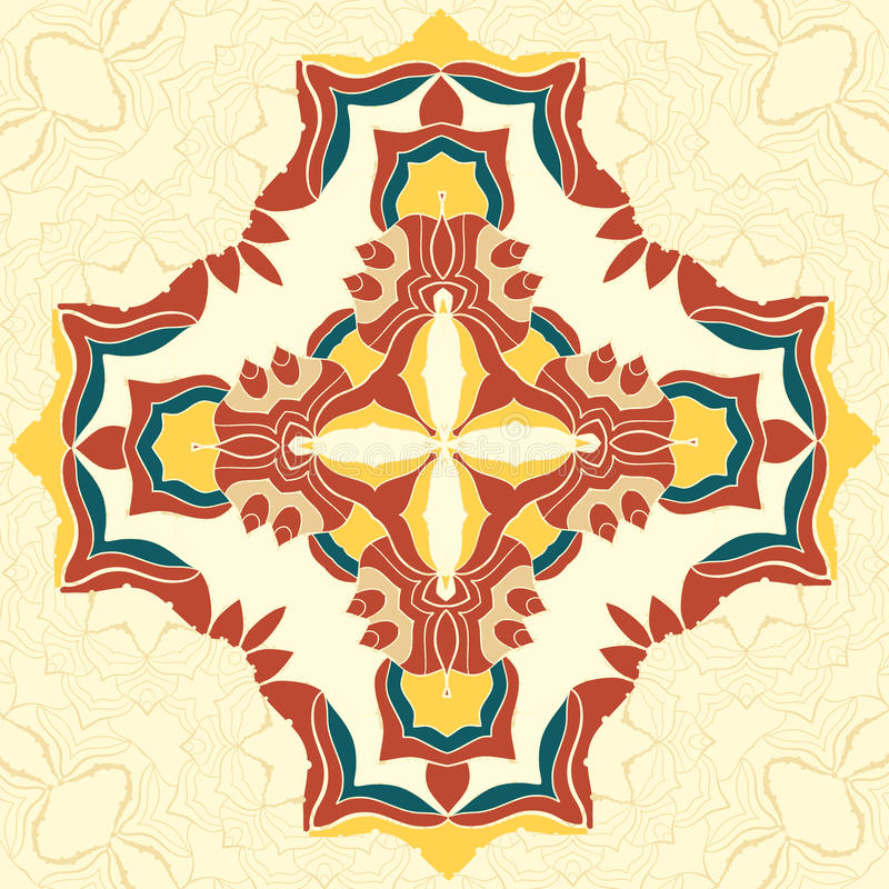 布朗和黄色传染媒介坛场 您的设计的装饰元素,鞋带装饰品,圆的样式每许多细节 向量例证