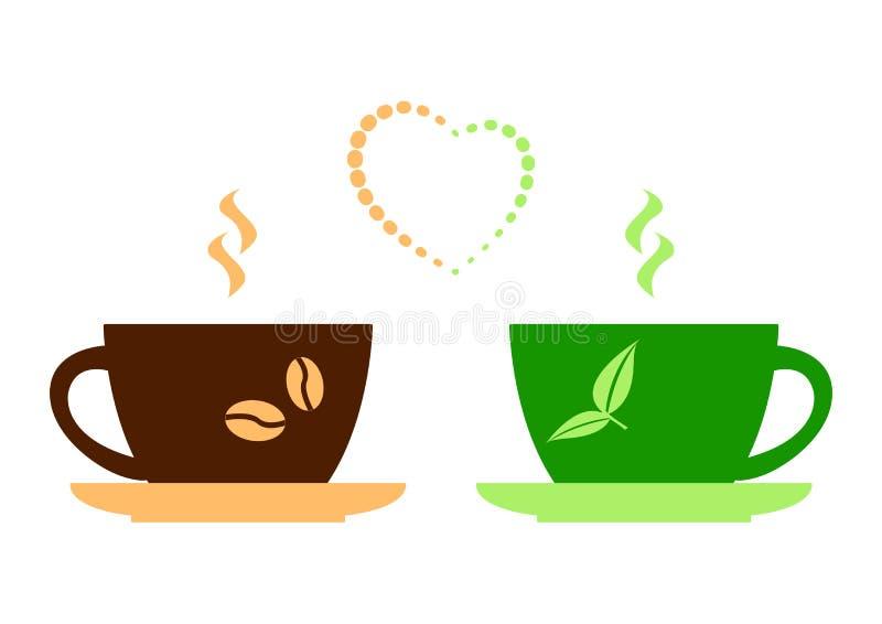 布朗咖啡和绿色茶和心脏 ?? 皇族释放例证