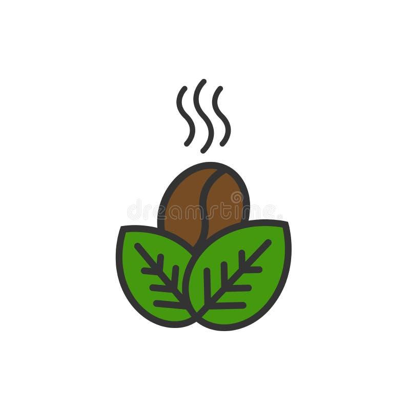 布朗咖啡豆和绿色叶子象 商标的咖啡tamplate 有机标志 平的传染媒介例证 向量例证