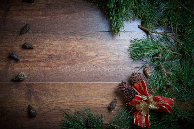 布朗圣诞节与冷杉分支和锥体的假日背景 大量复制空间 免版税图库摄影