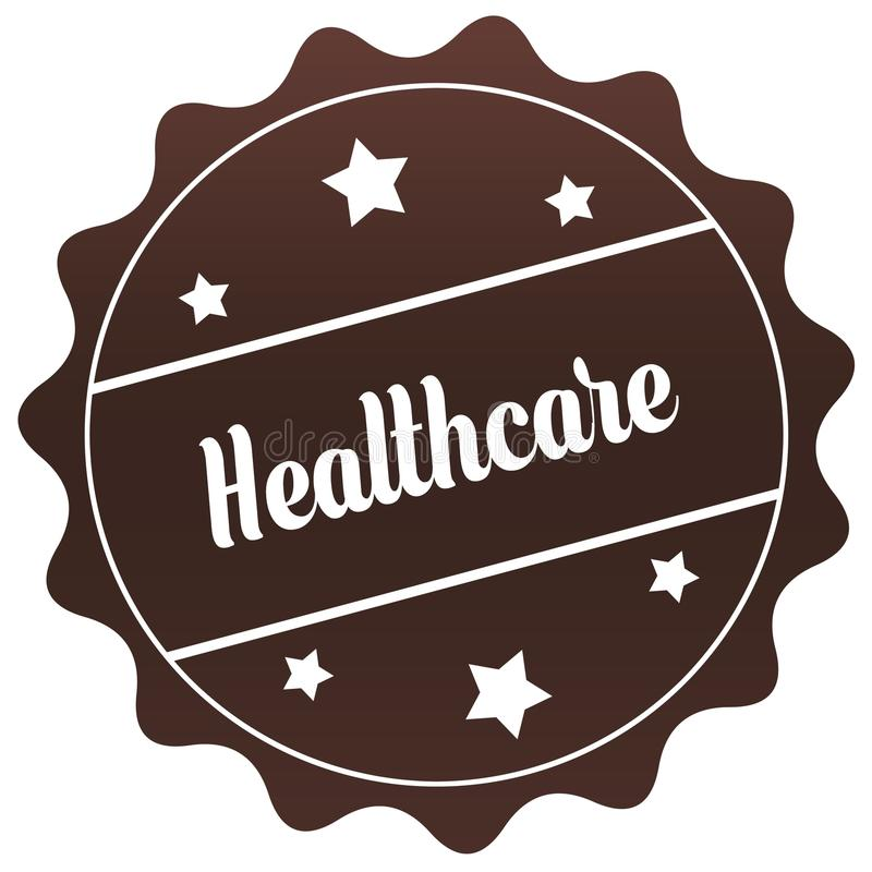 布朗在白色背景的医疗保健邮票 库存照片