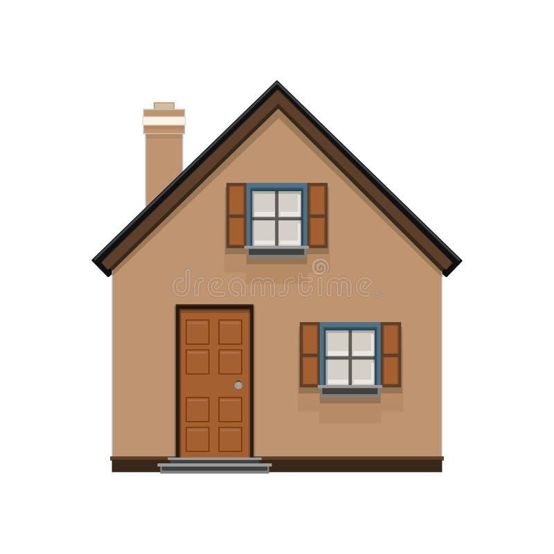 布朗在白色背景隔绝的房子象 房子,大厦,房地产概念,平,在舱内甲板的传染媒介例证 向量例证