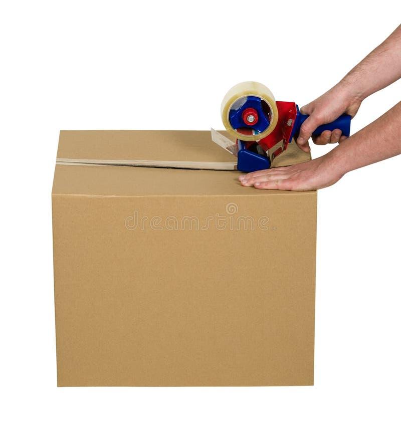 布朗在白色隔绝的纸板箱 库存图片