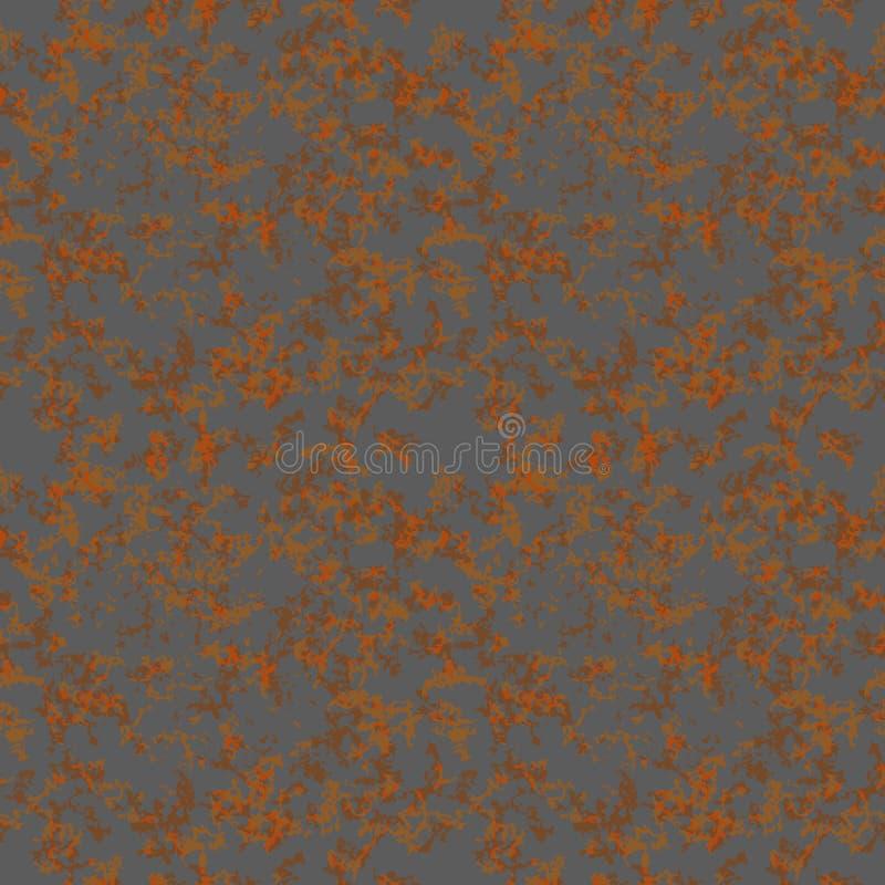 布朗在金属,无缝的样式的铁锈纹理 皇族释放例证