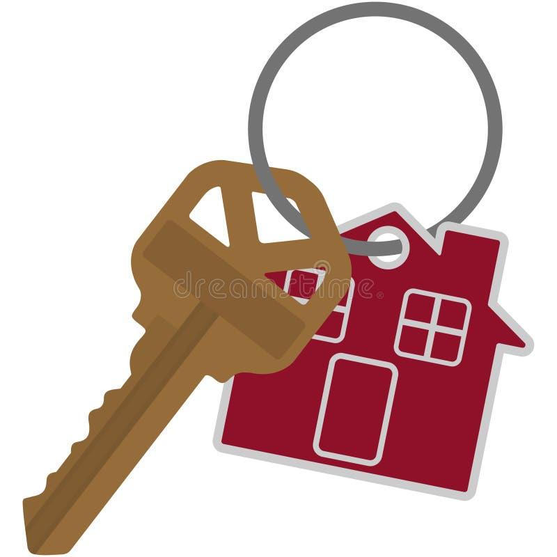 布朗在钥匙圈例证的议院钥匙 库存例证