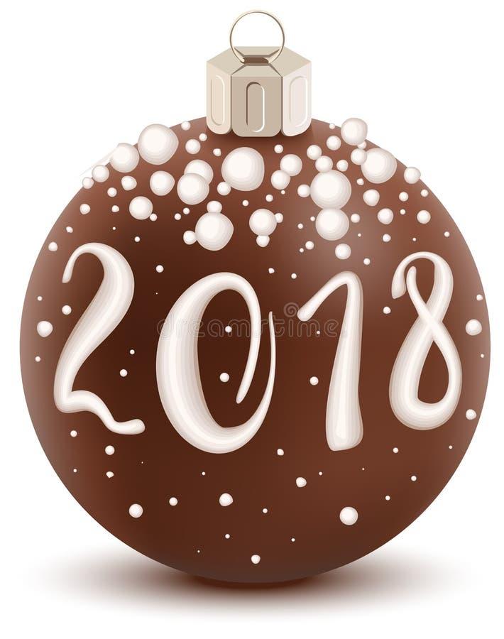 布朗巧克力2018年与糖涂层的圣诞节球 甜假日装饰 皇族释放例证
