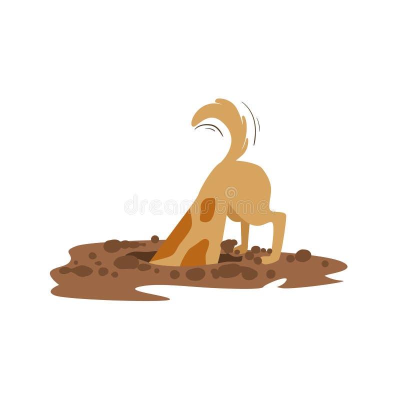 布朗开掘土的爱犬在庭院,动物情感动画片例证里 皇族释放例证