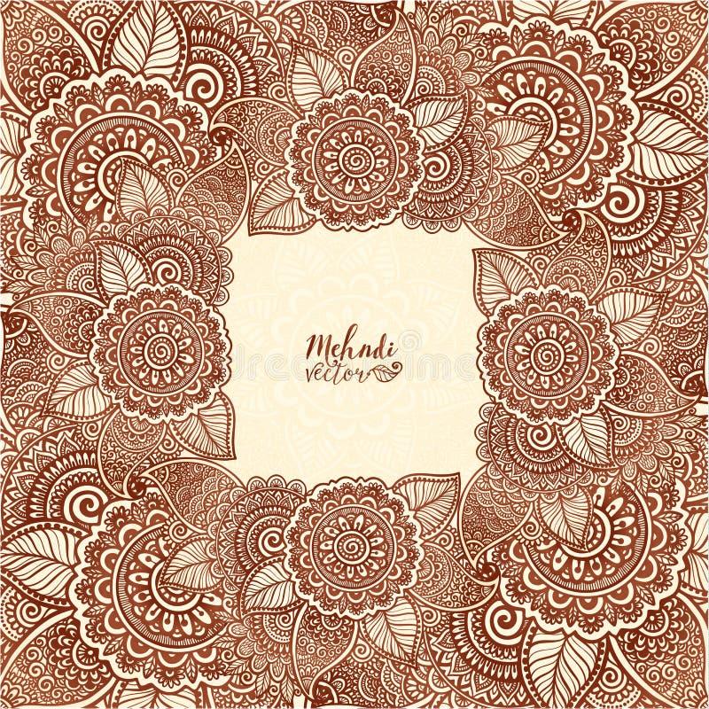 布朗无刺指甲花上色在印地安mehndi纹身花刺样式的传染媒介花卉方形的框架 库存例证