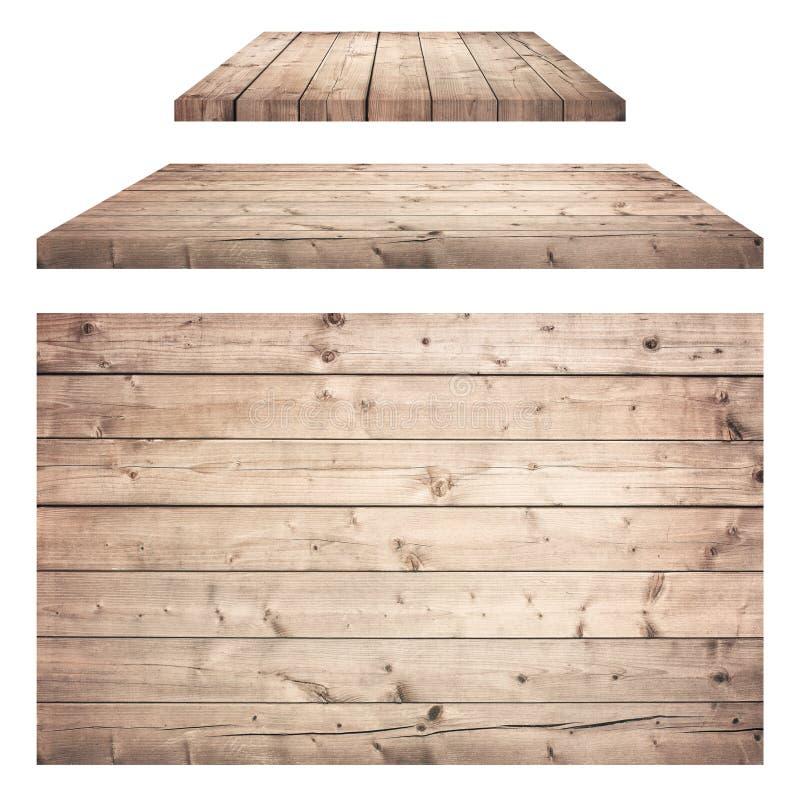 布朗木墙壁,桌,地板表面,木纹理 对象在空白背景查出 库存图片