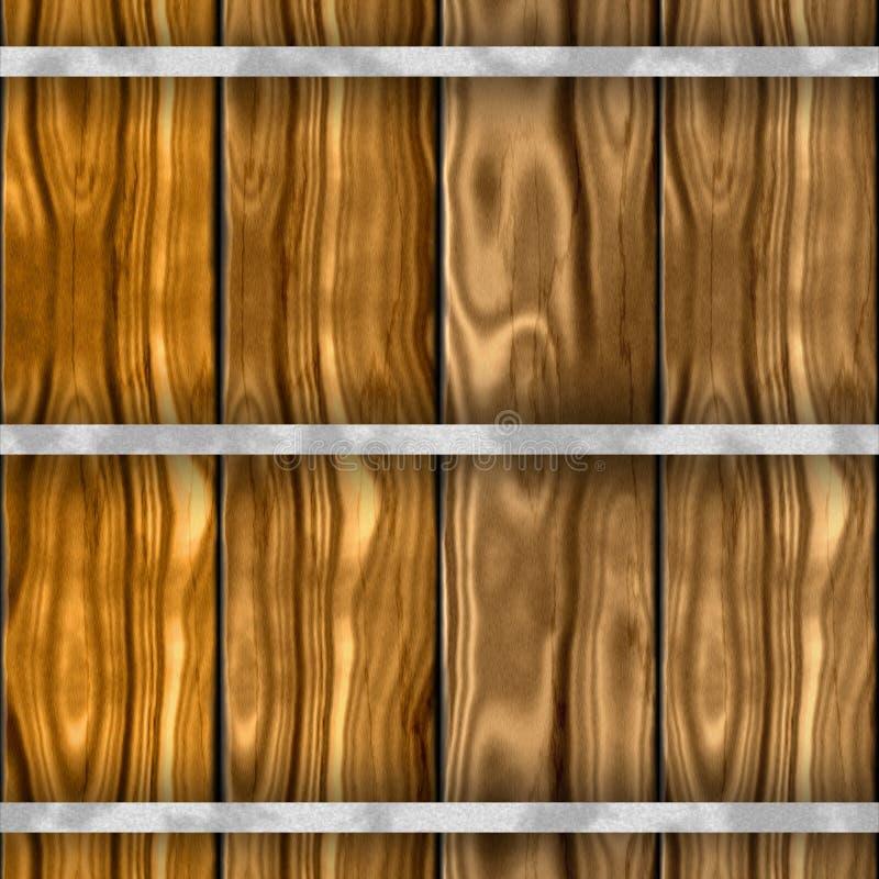 布朗木桶seammles仿造与老木板条的纹理背景 库存例证