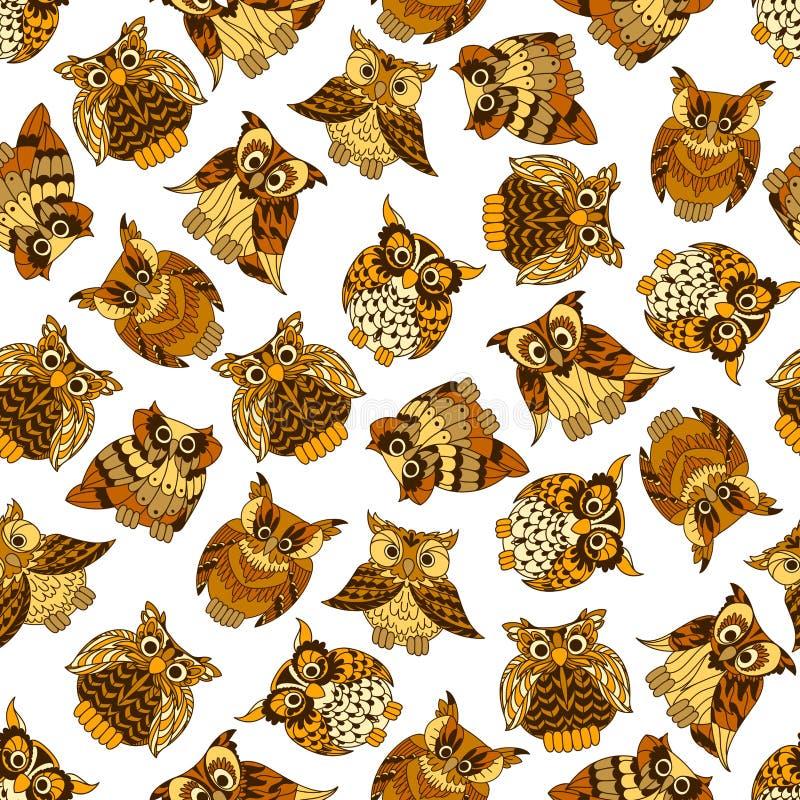 布朗森林猫头鹰无缝的样式 向量例证