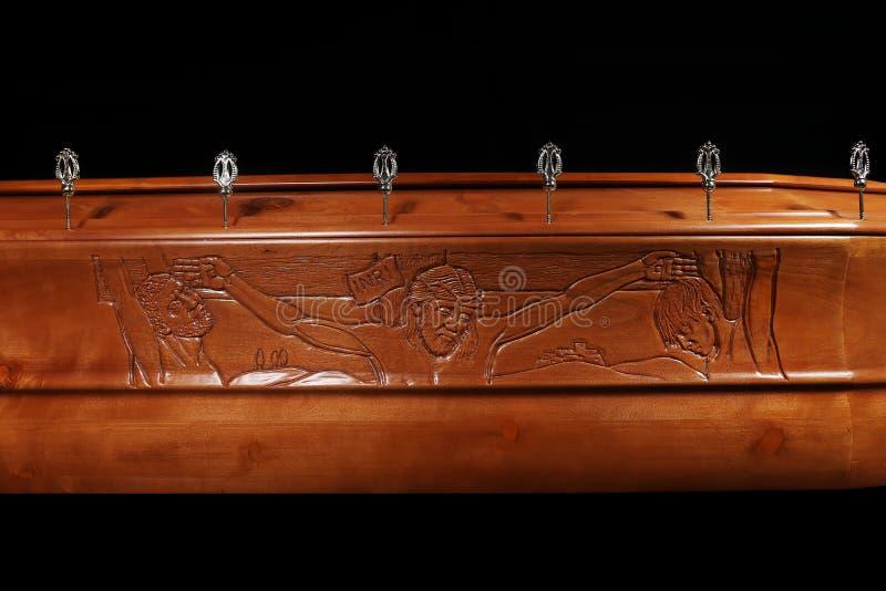 布朗棺材,特写镜头视图 免版税图库摄影