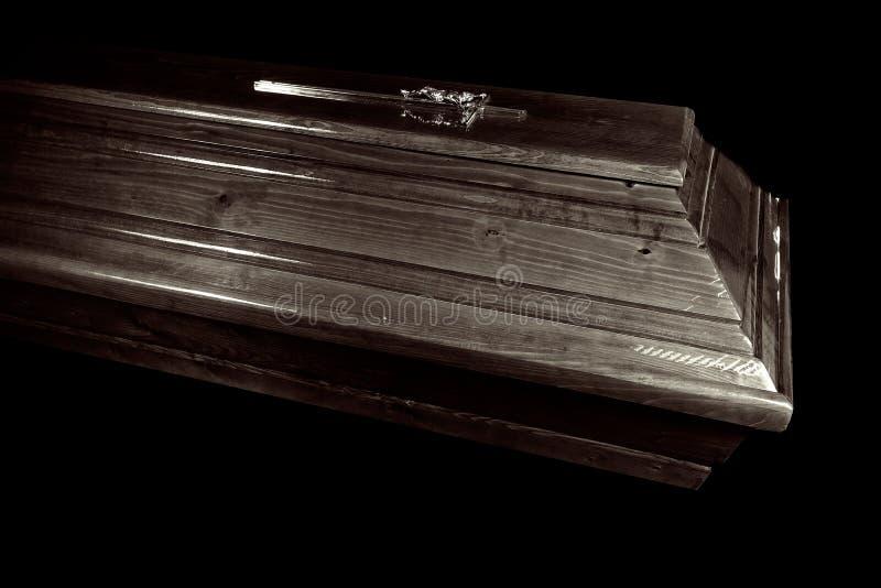 布朗棺材,特写镜头视图 免版税库存照片