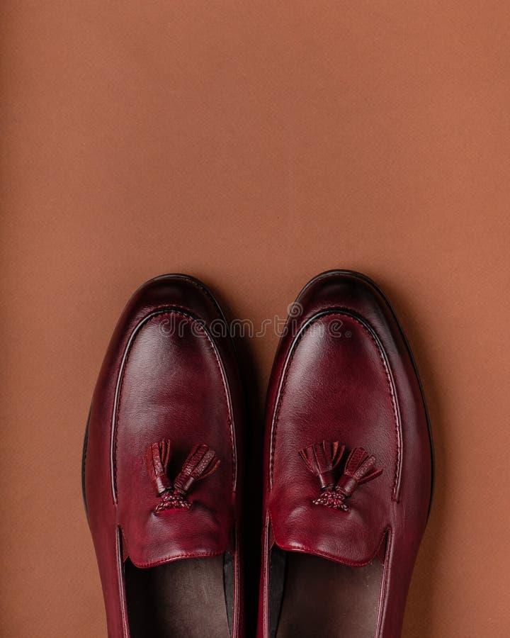 布朗用皮革包盖人经典样式` s鞋子,一双鞋有缨子的 库存照片