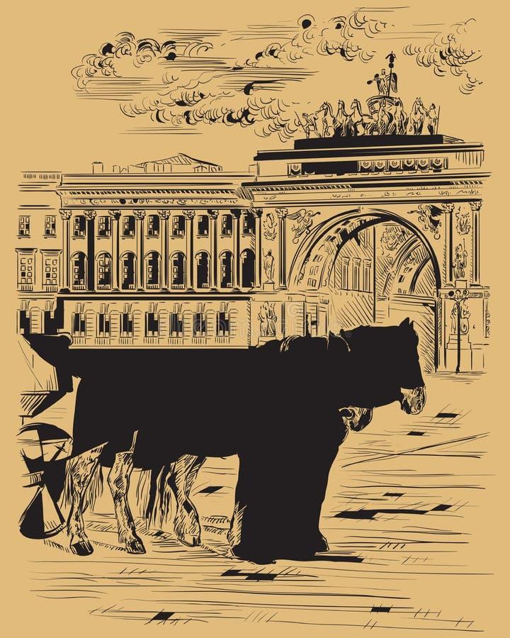 布朗画圣彼德堡9的传染媒介手 皇族释放例证