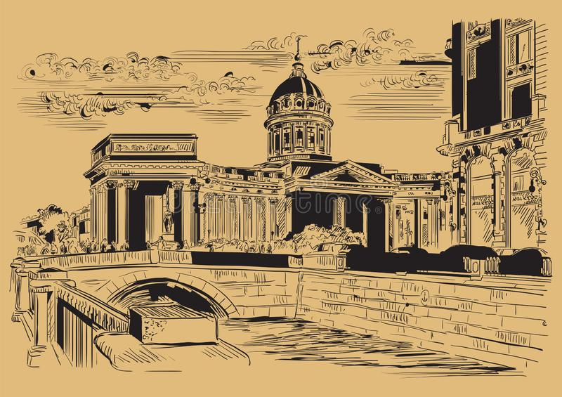 布朗画圣彼德堡5的传染媒介手 皇族释放例证