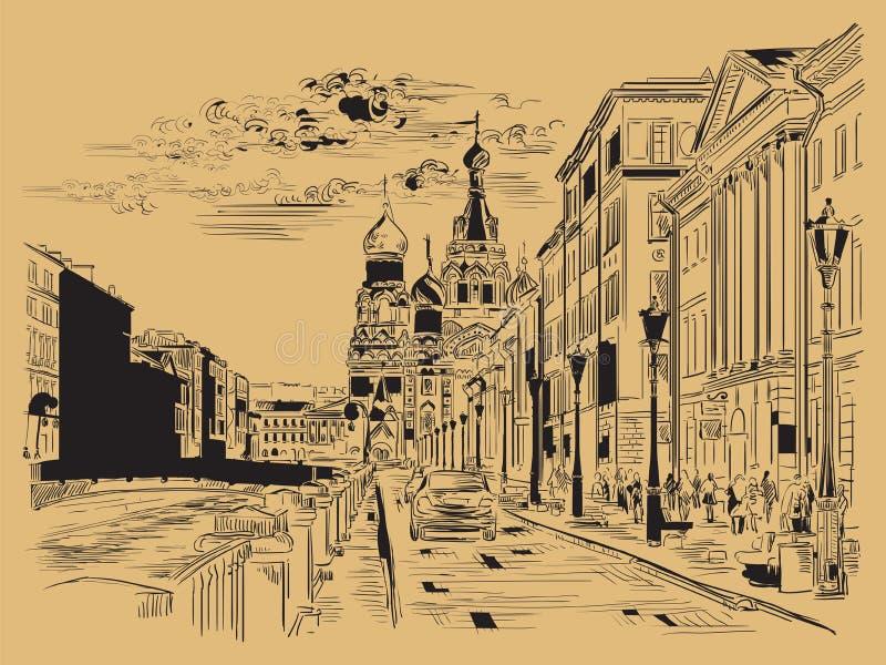 布朗画圣彼德堡4的传染媒介手 库存例证