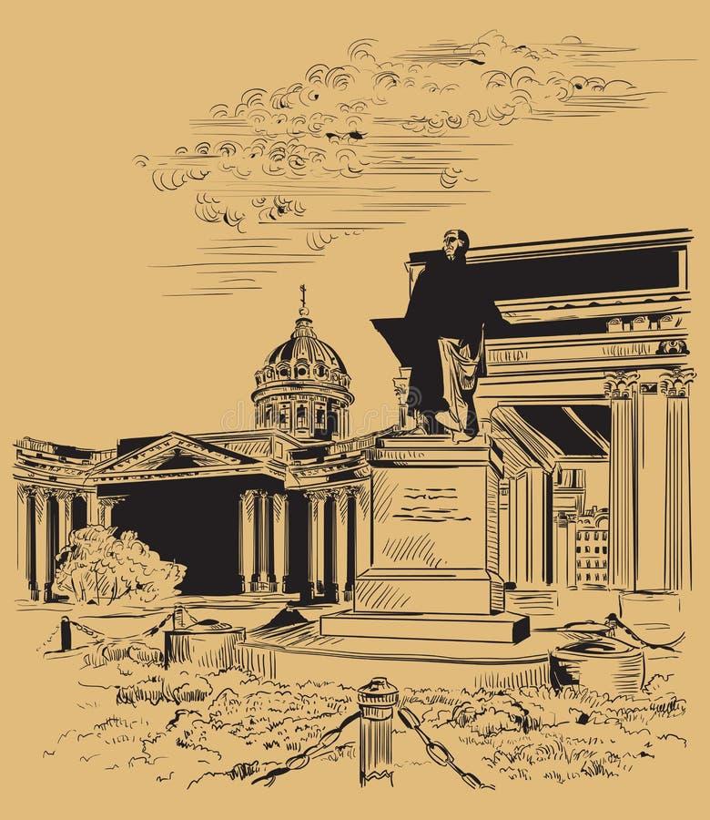 布朗画圣彼德堡1的传染媒介手 皇族释放例证