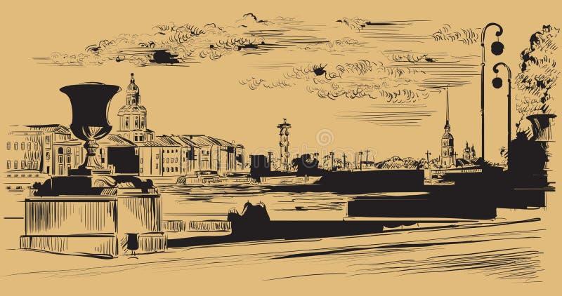 布朗画圣彼德堡10的传染媒介手 皇族释放例证