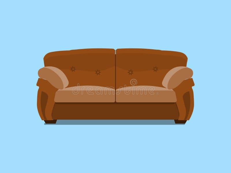 布朗皮革彻斯特沙发 也corel凹道例证向量 在蓝色背景室内设计的舒适的休息室隔绝的 皇族释放例证