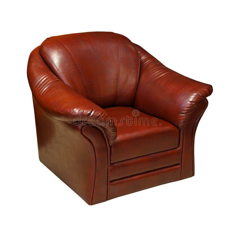 布朗皮革扶手椅子 库存图片