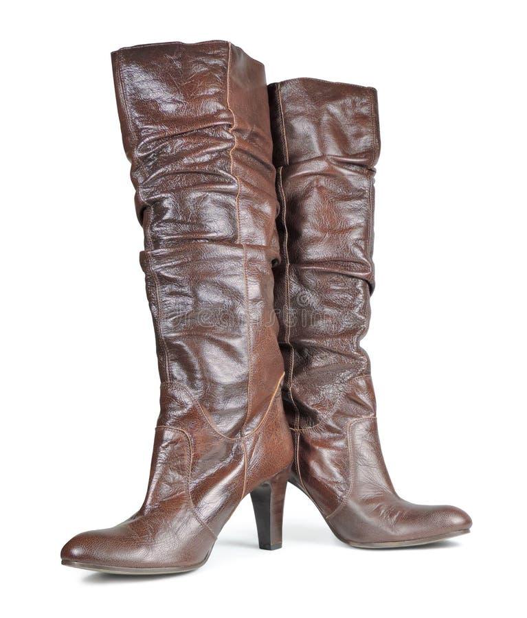 布朗皮革高跟鞋 库存照片