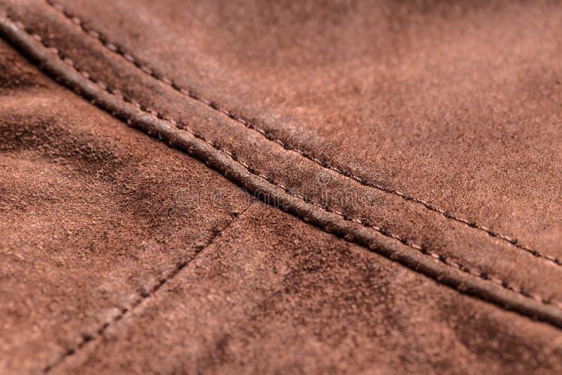 布朗皮革,缝 免版税库存照片