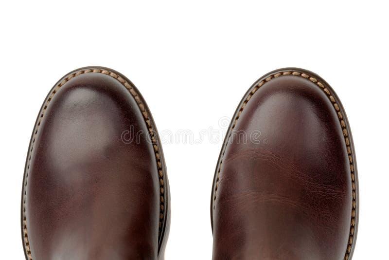 布朗皮鞋特写镜头,顶视图 免版税库存照片