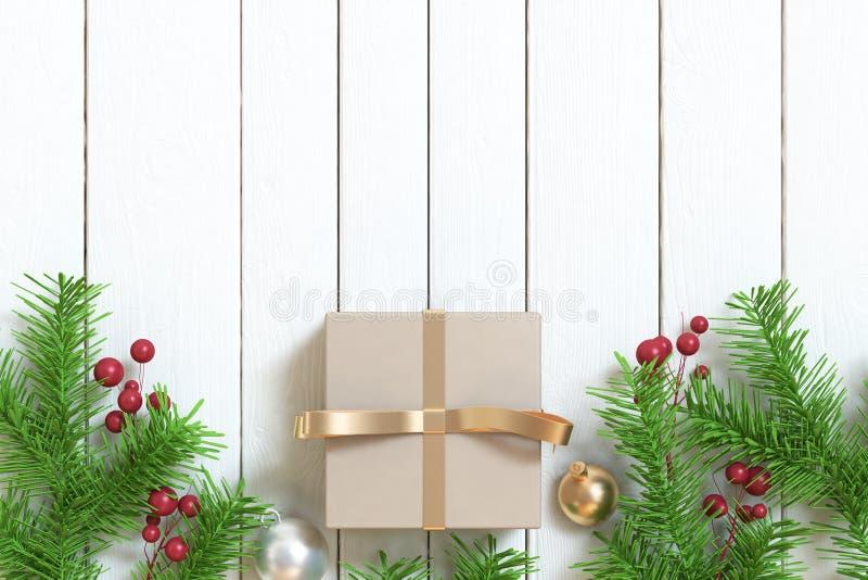 布朗礼物盒金丝带球树叶子圣诞节背景木地板 免版税图库摄影