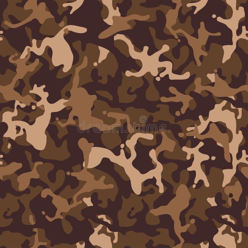 布朗米黄伪装无缝的样式 现代军事camo纹理 沙漠掩没的颜色 皇族释放例证