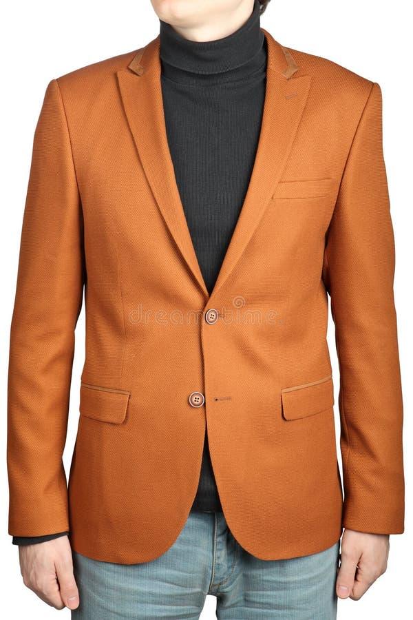 布朗精神适合夹克,有补丁的男性橙色棕色燃烧物 库存图片