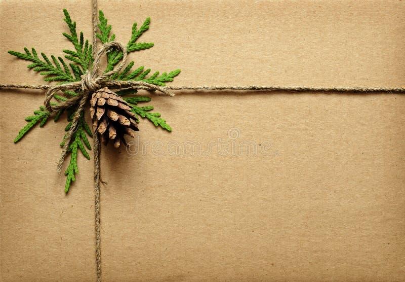 布朗纸板箱栓与绿色枝杈、锥体和绳索 免版税库存图片