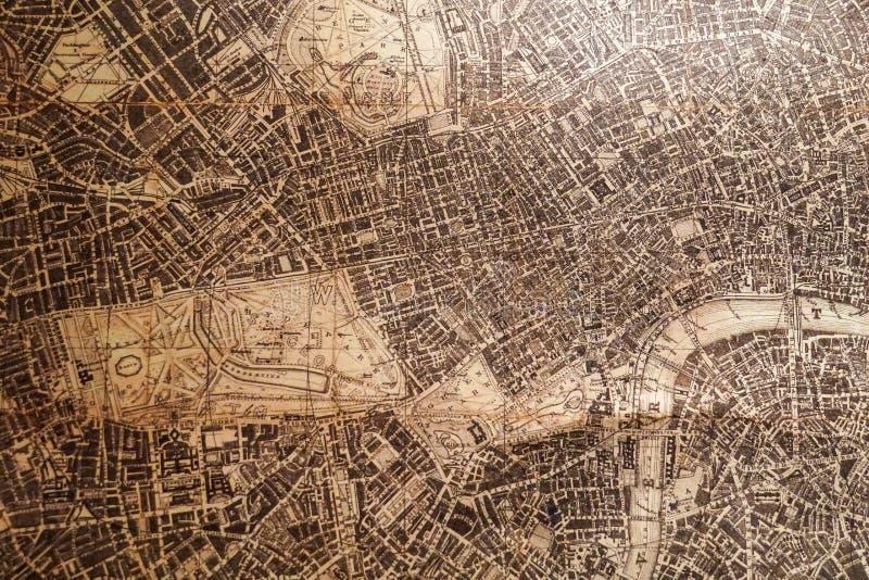 布朗老古色古香的减速火箭的葡萄酒地图 免版税库存图片