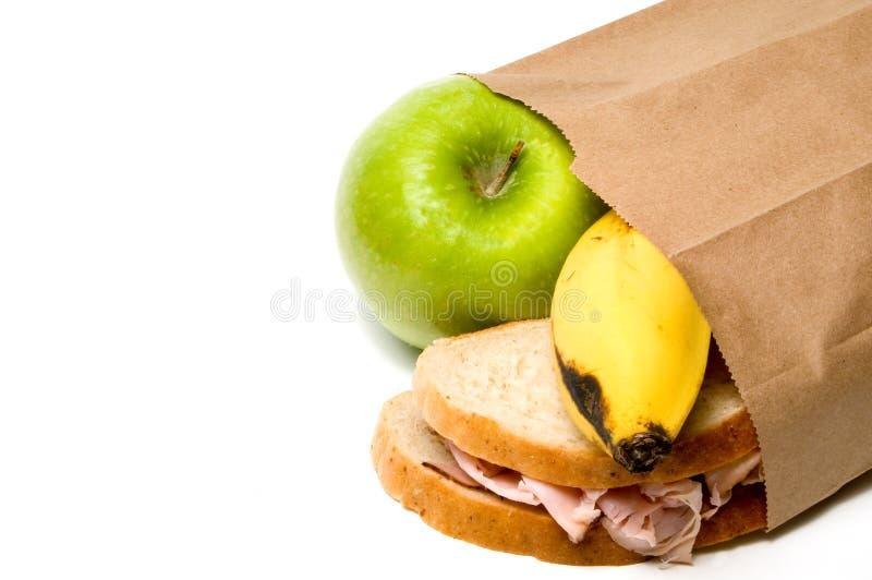 布朗袋子午餐 免版税库存照片