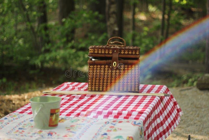 布朗被编织的袋子和一个杯子在一块红色方格的布料在森林里 免版税库存照片