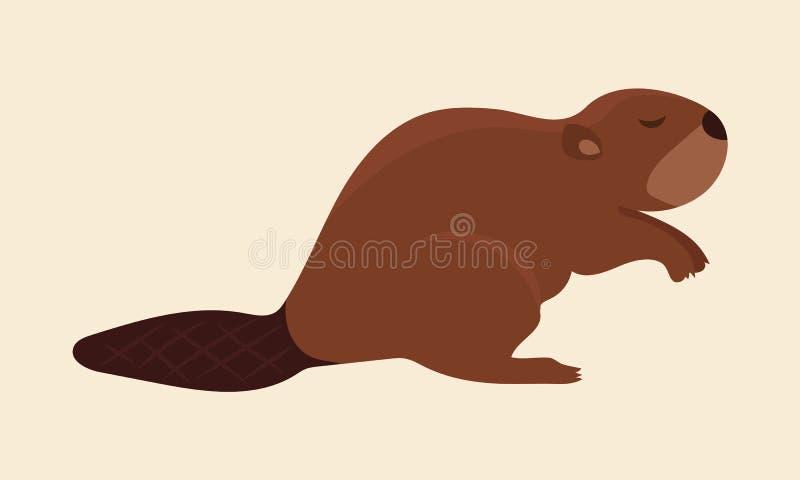 布朗逗人喜爱的海狸艺术 皇族释放例证
