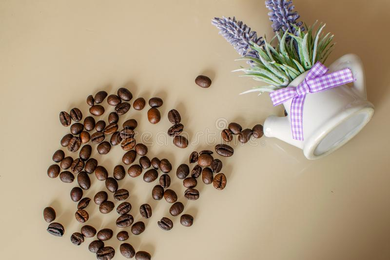 布朗阿拉伯咖啡咖啡豆用在轻的背景的淡紫色 库存图片