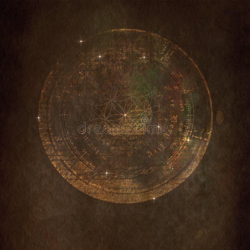 布朗,古老, mysticall,宇宙,难看的东西纹理 图库摄影