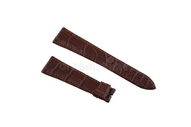 布朗,皮革表带被缝在边缘,隔绝在白色背景 库存照片