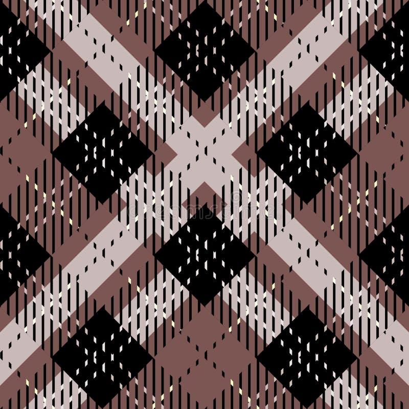 布朗,黑白苏格兰格子花无缝的样式 向量例证