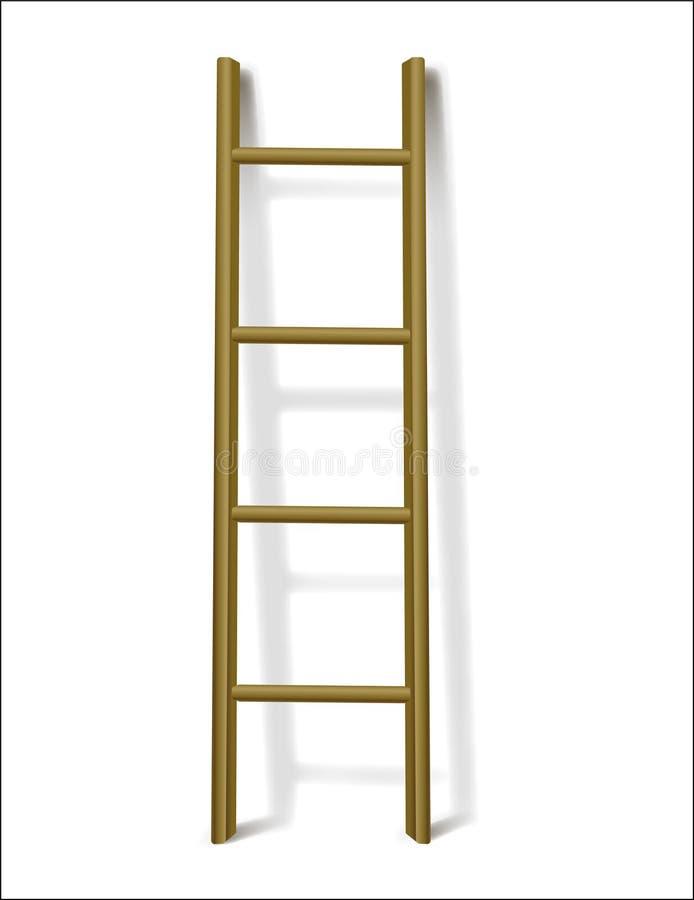 布朗4反对梯子传染媒介例证的步倾斜 库存图片