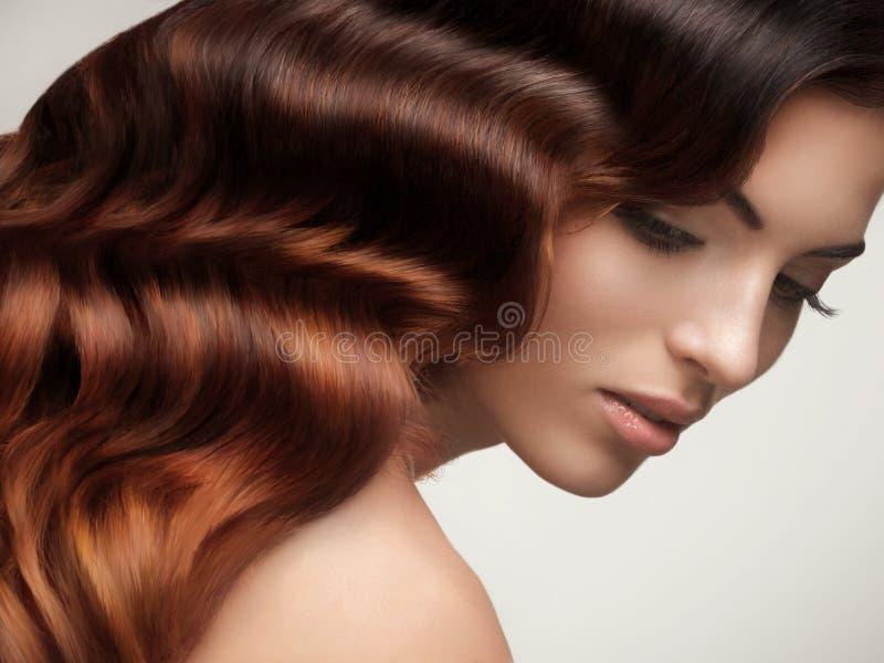 布朗头发。美丽的妇女画象有长的波浪发的。 免版税库存照片