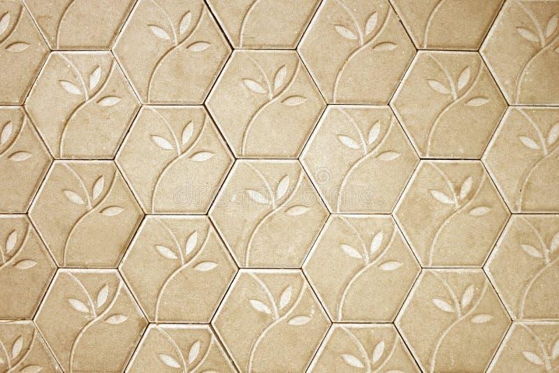 布朗水泥块地板花纹花样背景 免版税库存图片