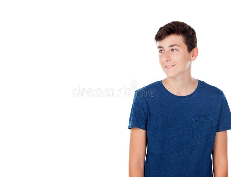 布朗年轻白种人男孩 免版税库存图片