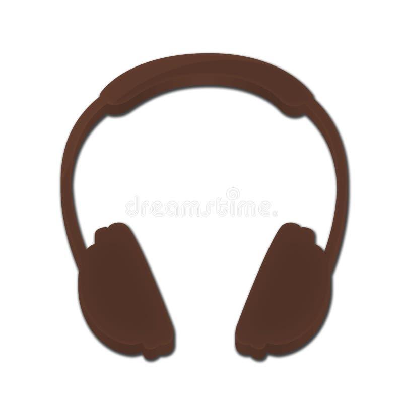 布朗DJ耳机3D象 皇族释放例证
