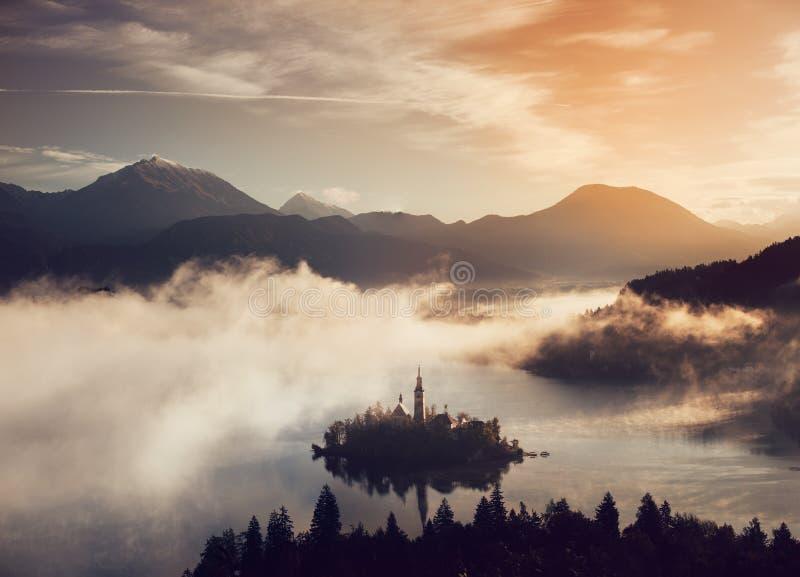 布莱德湖惊人的空中全景  免版税图库摄影