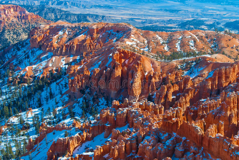 布赖斯峡谷国家公园在冬天 免版税库存图片