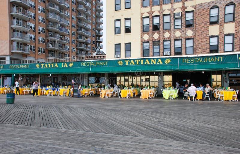 布赖顿海滩堤防区的木木板走道NYC的 图库摄影
