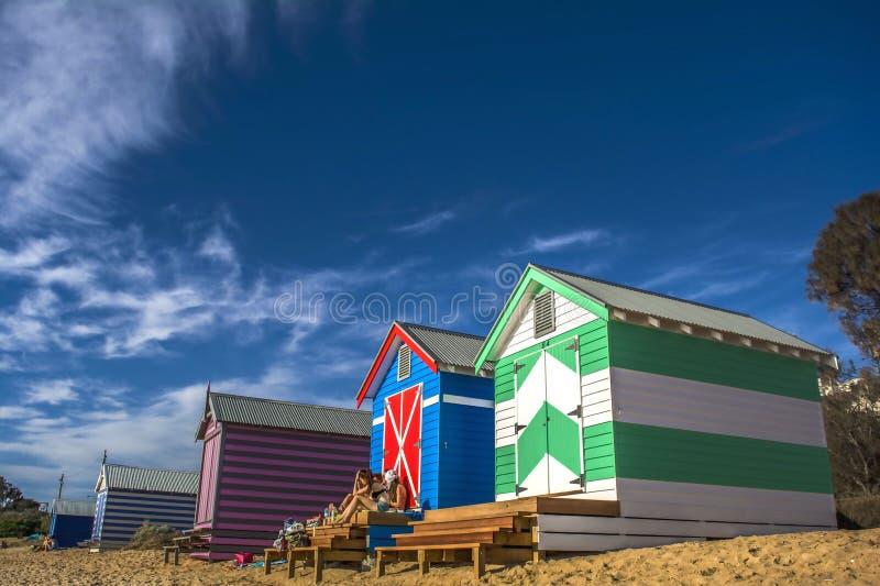 布赖顿海滩浴箱子 免版税库存照片